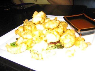 Our appetizer, Rock Shrimp Tempura